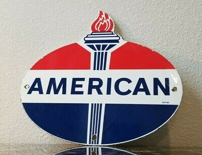 Vintage Standard Oil Co Porcelain American Gasoline Service Station Pump Sign