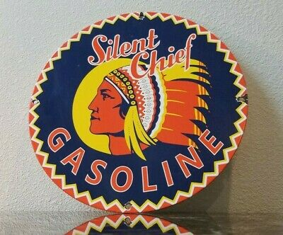 Vintage Silent Chief Gasoline Porcelain Indian Service Station Pump Plate Sign