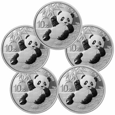5 x 2020 30g Silver Chinese Panda Bullion Coins in coin capsule