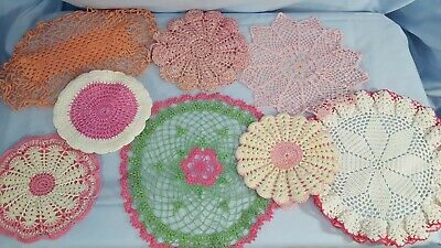 "VINTAGE Pink Lace DOILY Lot of 8 Rounds, OVAL, Green & Pink, 6"" to 11"""