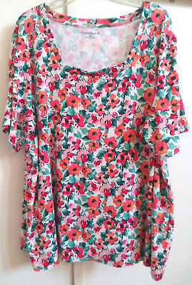 Croft & Barrow 3X Multicolor Floral Short Sleeve Stretch Knit Top 100% Cotton