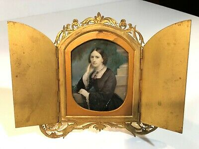 ANTIQUE 19 th C MINIATURE PAINTING SIGNED C BOSTELMANN ON IVORY