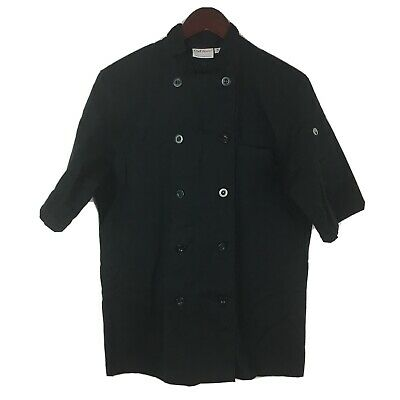 Chef Works SMALL Short Sleeve Black Bastille Coat