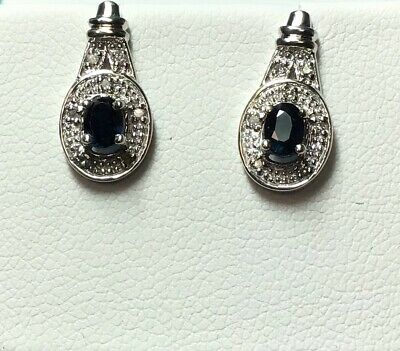 Ladies 10 K White Gold Blue Sapphire And Diamond Halo Earrings