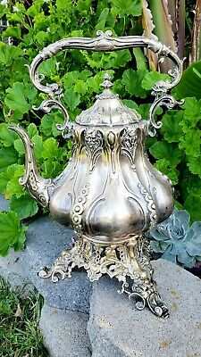 Antique Silverplated Victorian Hot Water Tea/Coffee Kettle / Samovar on Stand