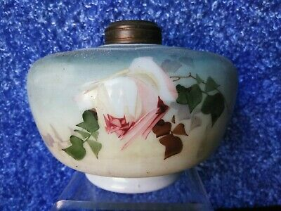 Victorian French painting porcelain oil lamp CARVED IMPORTANT ART AMULET