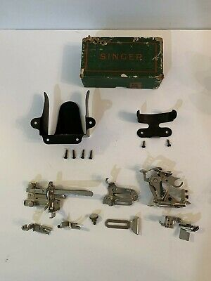 Singer Sewing Machine Bentwood Case Oil Can Attachments Box Holder Original Box