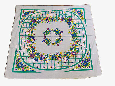 VTG Mid Century Kitchen Cotton Tablecloth Floral SPRING TULIPS
