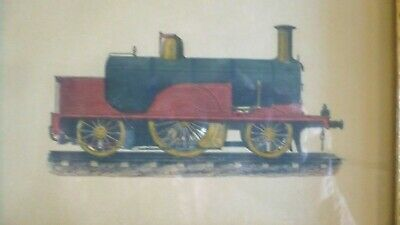 Antique French Print Victorian  Train Railroad Locomotive Framed Under Glass