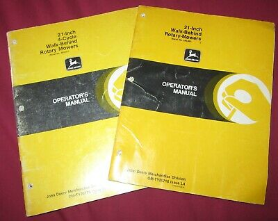 "~2~ John Deere Rotary 21"" Walk Behind Mower OPERATING MANUALS + 4 Cycle"