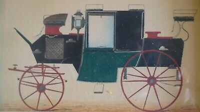 RARE ANTIQUE FRENCH PRINT VICTORIAN COUPE  MUEL No 120 HORSE CARRIAGE-FRAMED