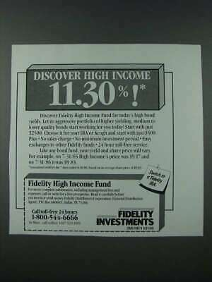 1986 Fidelity Investments Ad - Discover High Income