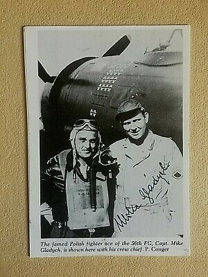 MICHAEL GLADYCH WWII 56th Fighter Group ACE SIGNED 3.75x5.5  PHOTO 18 KILLS