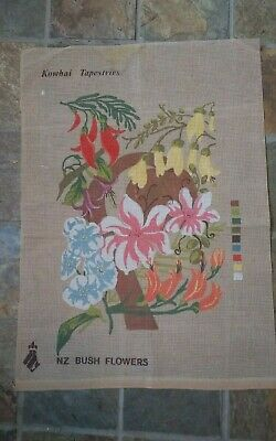 """Vtg painted needlepoint canvas only NZ Bush Flowers Kowhai Tapestries 16x22"""""""