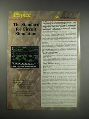 1990 MicroSim Pspice Software Ad - The Standard for circuit simulation