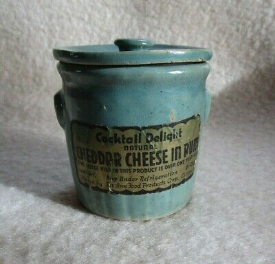 Cheddar Cheese In Rum Green Crock With Lid Vintage Pottery