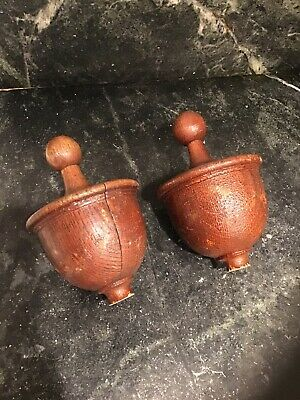 Vintage Wood Large Newel Post Cap Acorn Shape Set Of Two Architectural Salvage