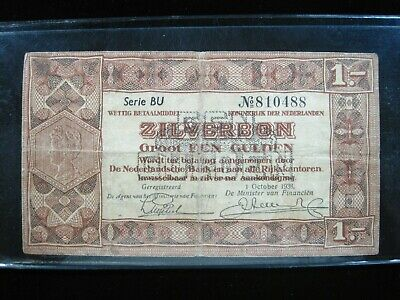 NETHERLANDS 1 ZILVERBON GULDEN 1938 DUTCH 88# Currency Bank Money Banknote