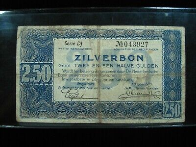 Netherlands 2.50 Zilverbon 1938 Dutch 44# Currency Bank Money Banknote