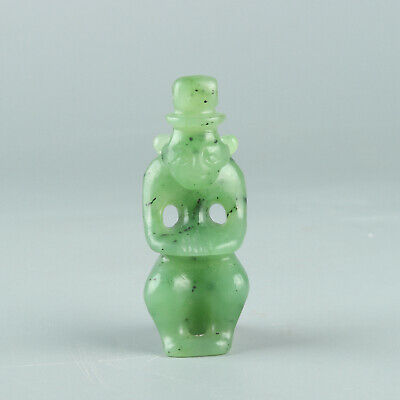 Chinese Exquisite Hand carved Hetian jade seal statue