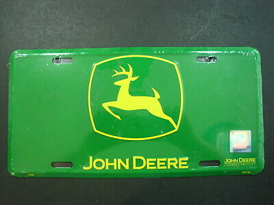 John Deere Advertising Sign Metal Embossed License Plate Green Hologram New