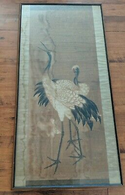 """Large Antique Chinese Scroll Watercolor Cranes Distressed Heavy Framed 55"""" x 27"""""""