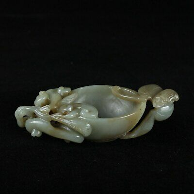 Chinese Exquisite Hand carved Hetian jade Brush washer