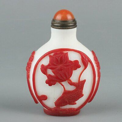 Chinese Exquisite Handmade lotus fish Glass snuff bottle