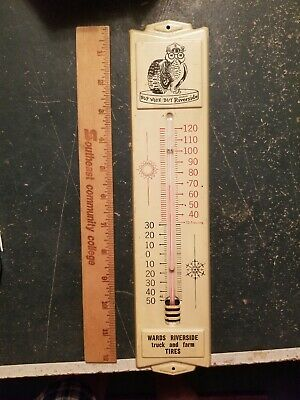 Vintage Metal Wards Riverside Truck And Farm Thermometer Advertising Sign