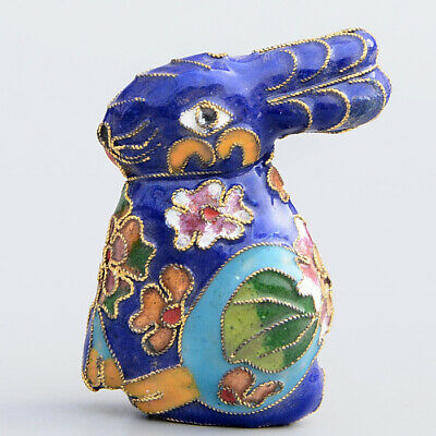 Collect China Old Cloisonne Hand-Carved Lovely Rabbit Interesting Decor Statue