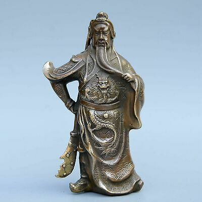Collectable China Old Bronze Hand-Carved Strong General Delicate Unique Statue