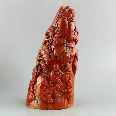 Collect Old Shoushan Stone Hand-Carved Immortal & Scenery Exquisite Decor Statue