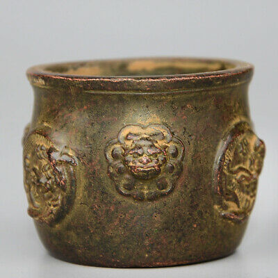 Collectable China Old Bronze Hand-Carved Myth Dragon & Lion Bring Luck Censer