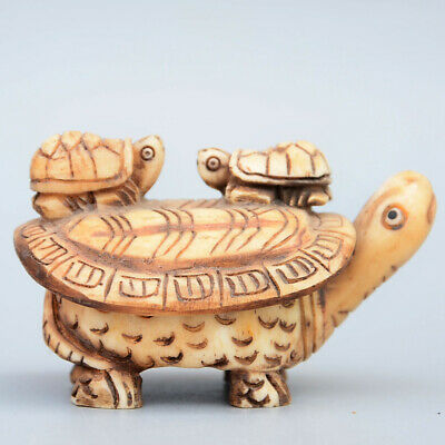 Collectable China Old 0x B0ne Hand-Carved Tortoise Moral Auspicious Noble Statue