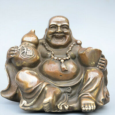 Collectable China Old Bronze Hand-Carved Happy Buddha & Wealth Moral Luck Statue