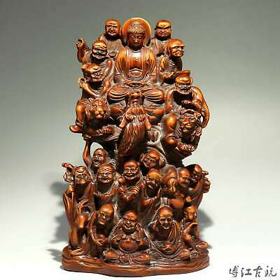 Collect China Old Boxwood Hand-Carved Eighteen Arhats Auspicious Decor Statue