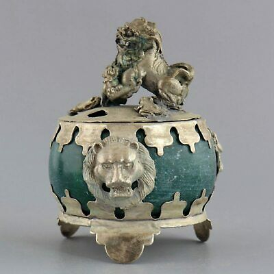 Collect Old Tibet Silver Armored Agate Carve Lion Delicate Noble Incense Burner