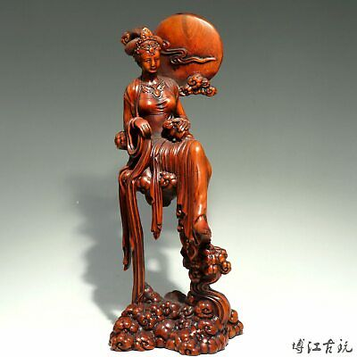 Collectable China Old Boxwood Hand-Carved Chang E Delicate Unique Decor Statue