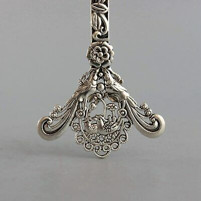 Collect Old Miao Silver Carve Myth Phenix & Mandarin Duck Delicate Decor Hairpin