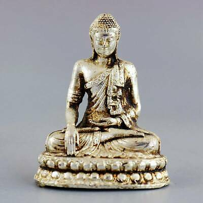 Collect China Old Miao Silver Hand-Carved Auspicious Bring Lucky Buddhist Statue