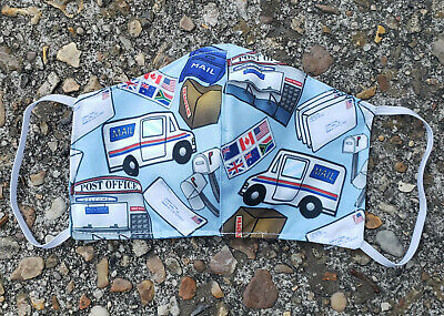Postman, Post office  Fabric Face Mask Adult 3 layers - Happy Mail ~ Handmade