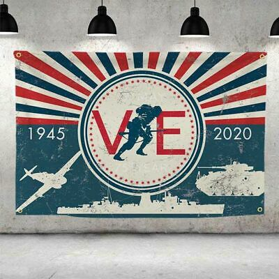 3x5ft 2020 VE Day 75th Anniversary Victory In Europe Flag Banner Home Decoration