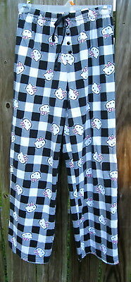 Hello Kitty Black White Gingham Check Flannel Pajama PJ Lounge Pants Womens S/M