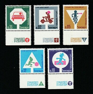 Israel 1966 Road Safety - 5 MNH with tabs stamps full set.