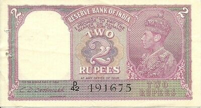 India  2 Rupee  1937  P-17B    Letter A