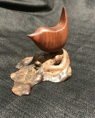 Vintage Miles Greer Signed Hand Carved Wood Bird Sculpture Mid Century Modern