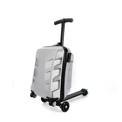 21'' Pure PC Silver Scooter Trolley Suitcase Travel Luggage Rolling Case Handbag