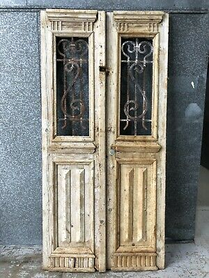 Architectural Antique Vintage French Doors & Wrought Iron Window Inserts