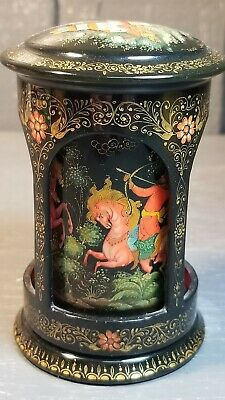Unusual Circular Painted Russian Lacquer Box Round Fairy Tale Signed