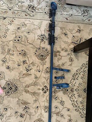 Cast Iron Curtain Pole With Brackets And Curtain Hoops Extendible 7ft 9 To 13 Ft
